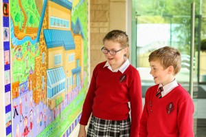 Giggleswick Junior School pupils admire the artwork